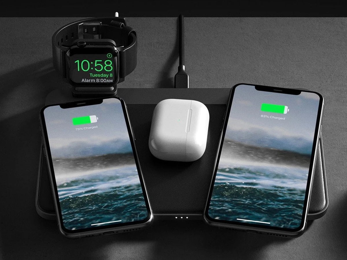 nomad base station pro wireless charging pad charging phones, watches and airpodes