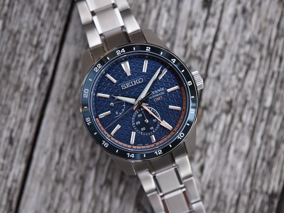 blue seiko presage sharp edged gmt series watch