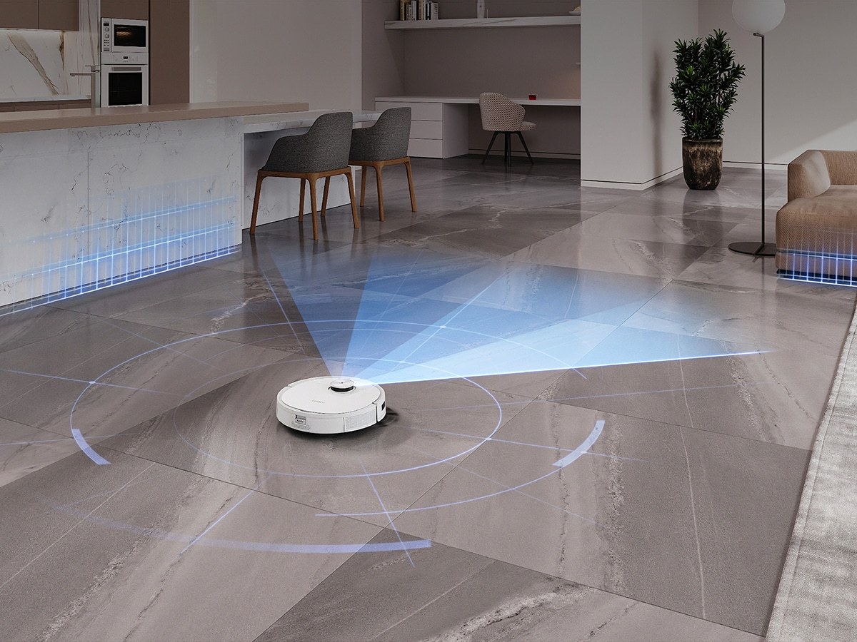 robot vacuum cleaner ECOVACS DEEBOT T9+ in a living room