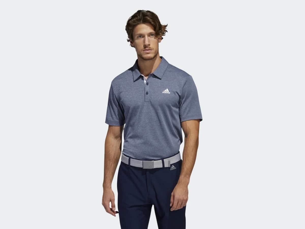 man wearing adidas advantage novelty heathered polo shirt