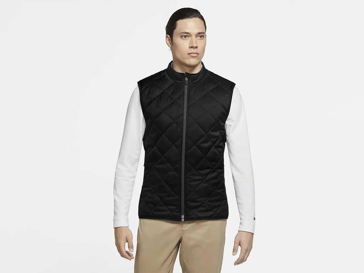 man wearing nike reversible synthetic fill golf gilet