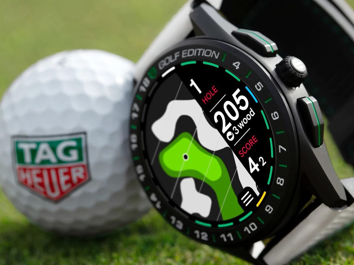 tag heuer connected golf edition watch near golf ball