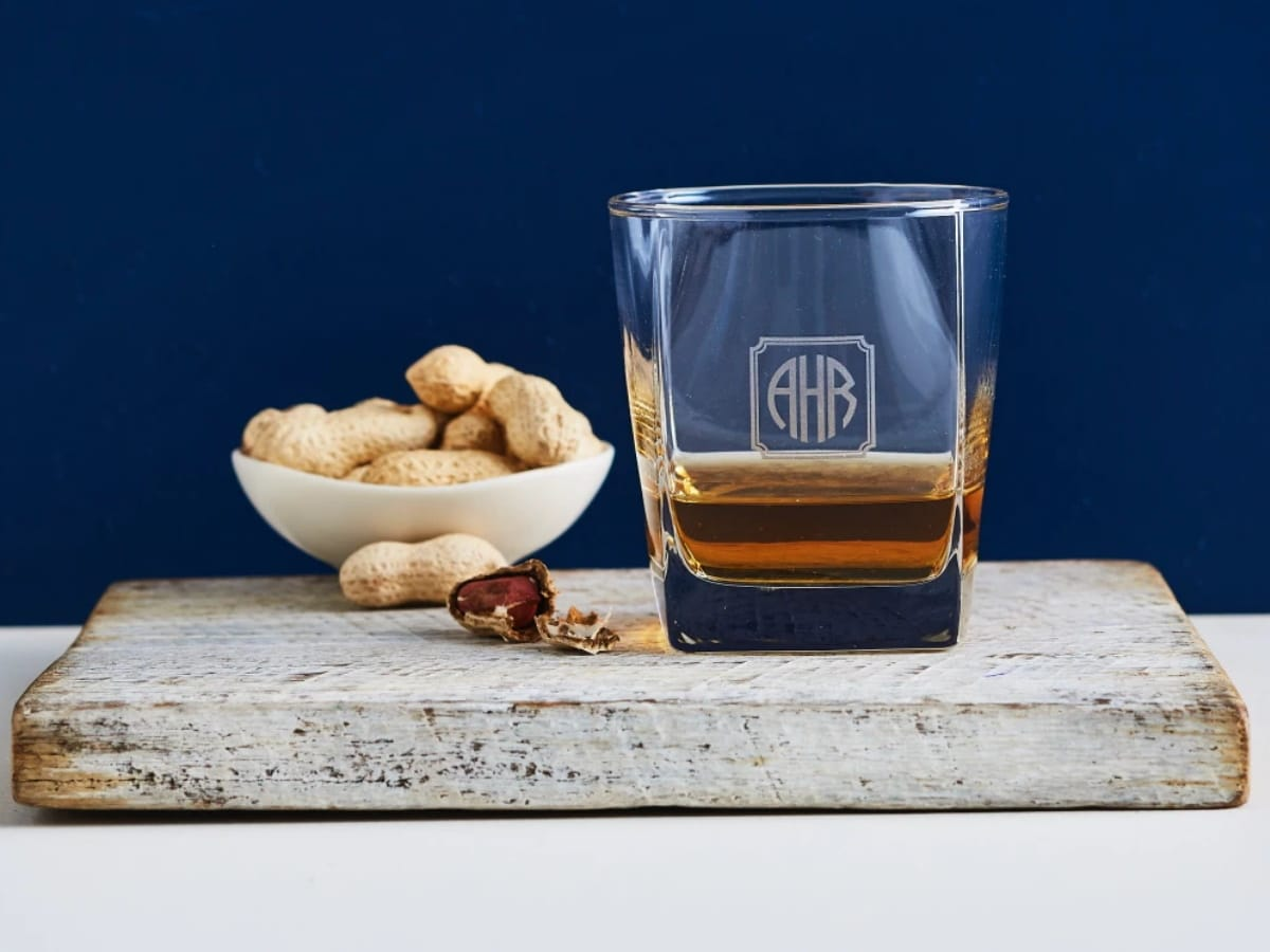 Fathers day gift guide under 50 personalised monogrammed square scotch glass