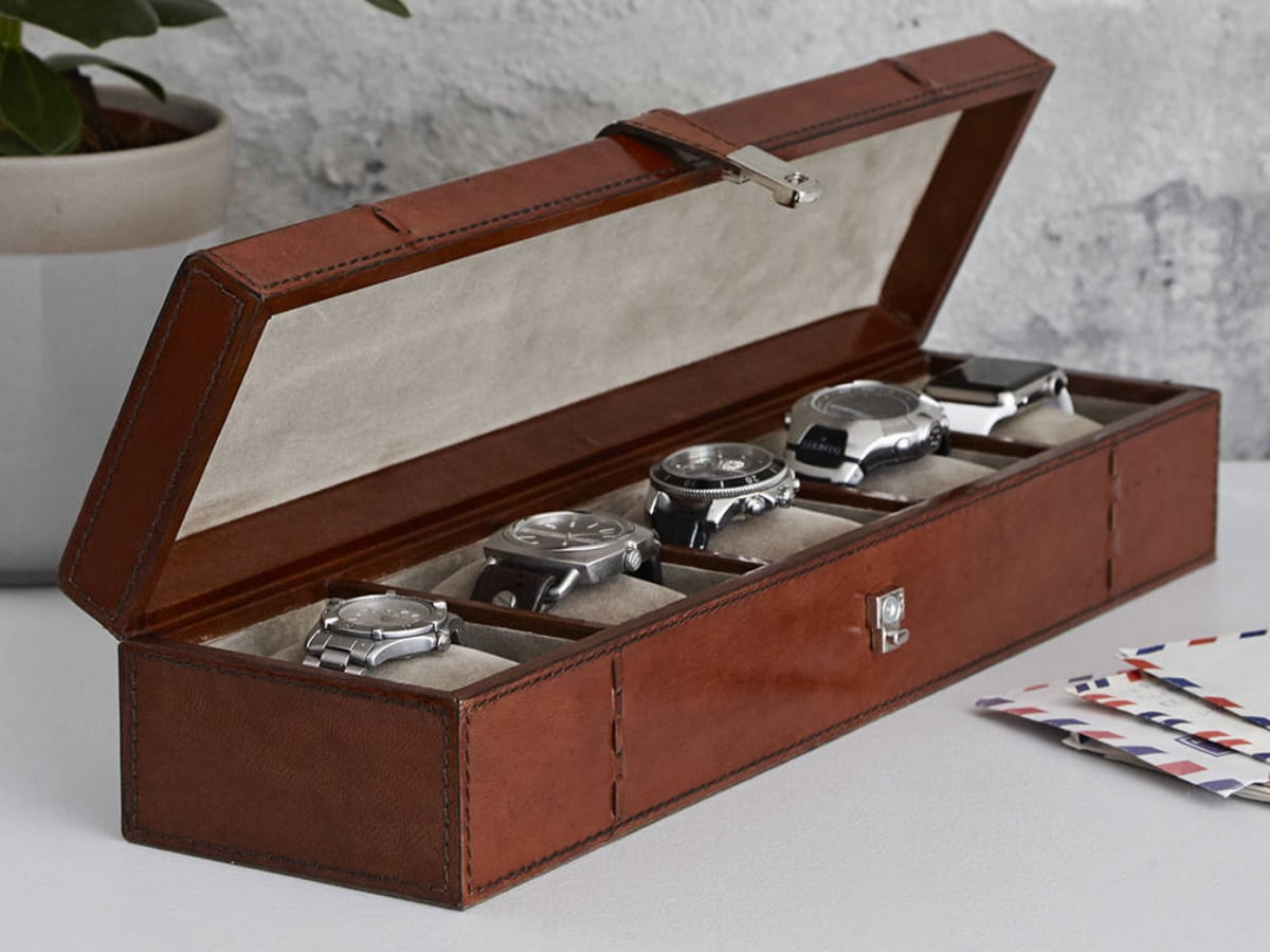 Fathers day gift guide watch lover personalised leather watch box