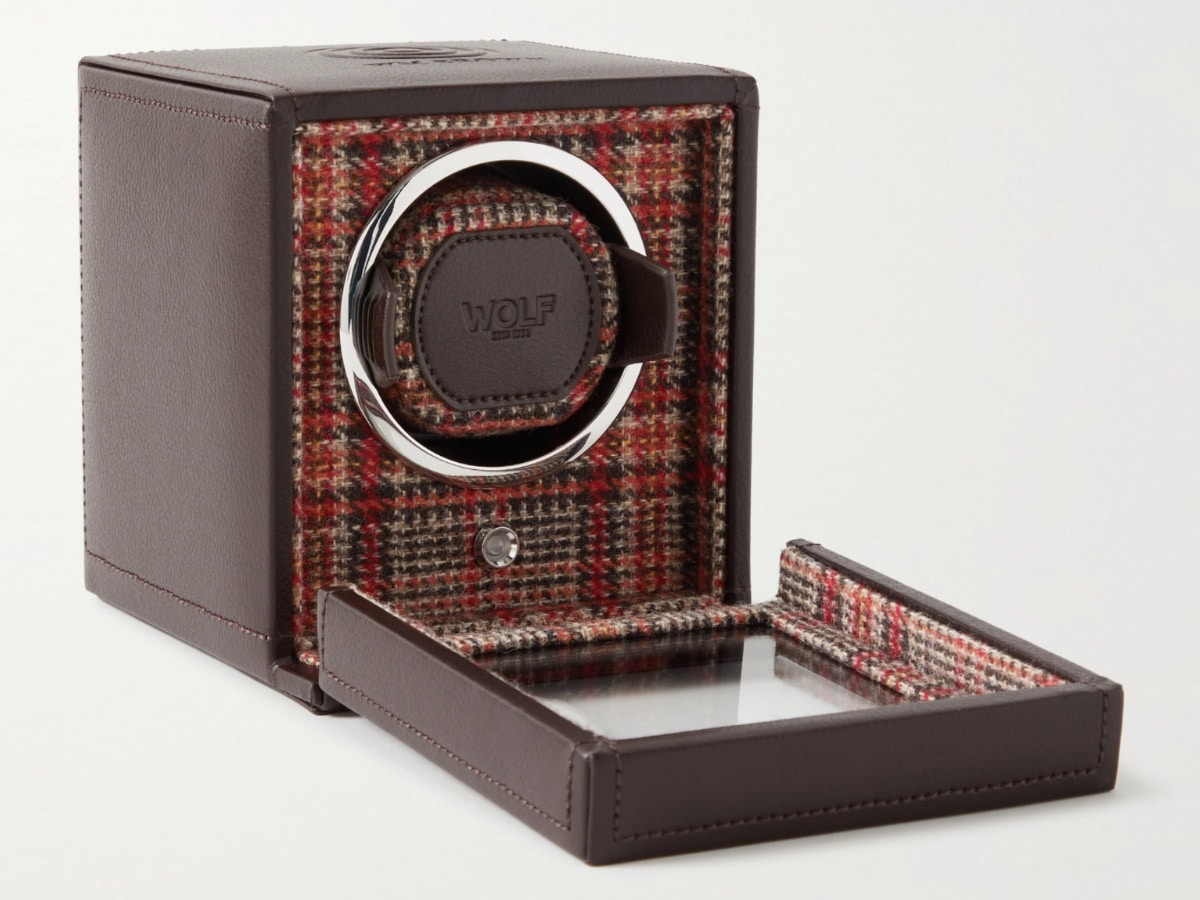 Fathers day gift guide watch lover wolf brown leather single watch winder