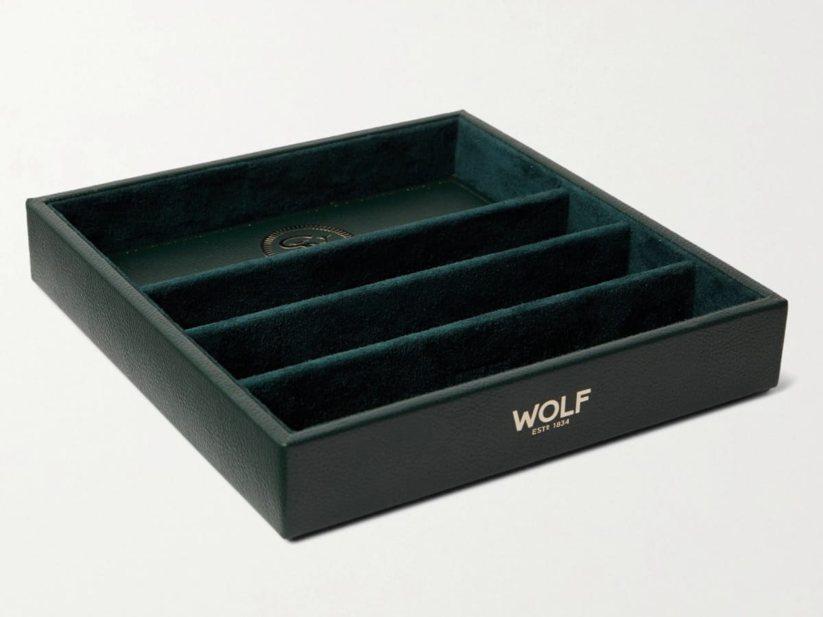 Fathers day gift guide watch lover wolf pebble grain vegan leather watch tray