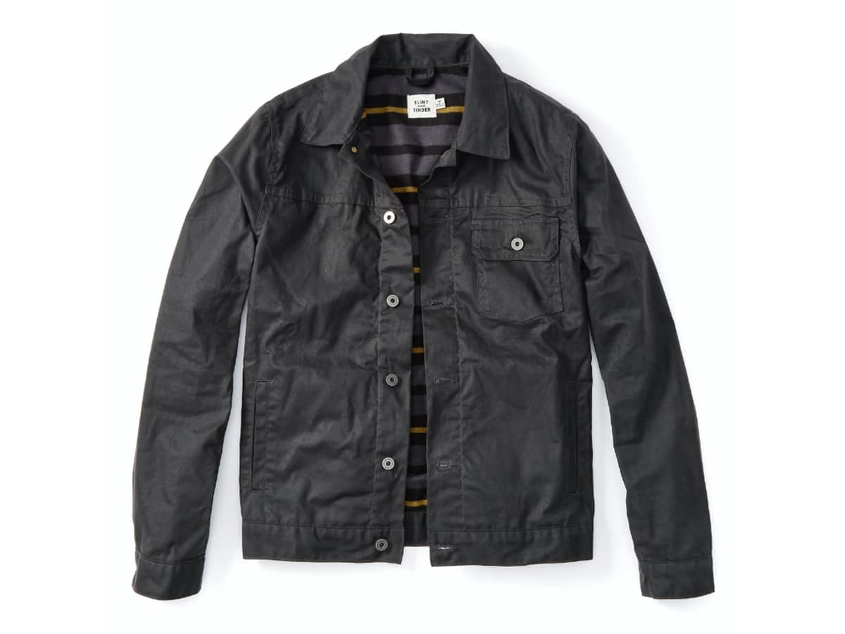 Flint and tinder flannel lined waxed trucker jacket png