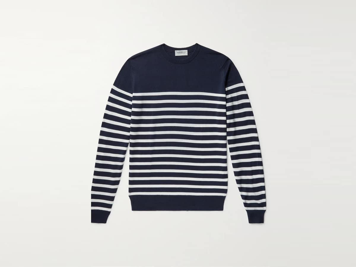 John slim fit striped merino wool sweater