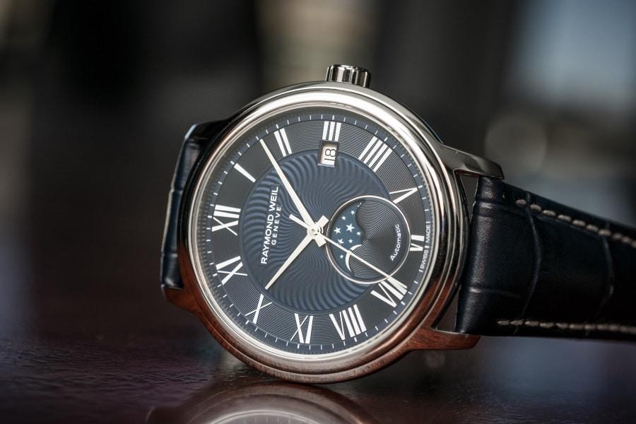 moon phase timepiece watch black