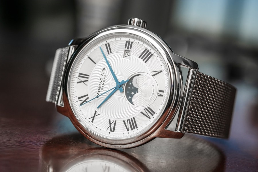 moon phase timepiece stainless steel