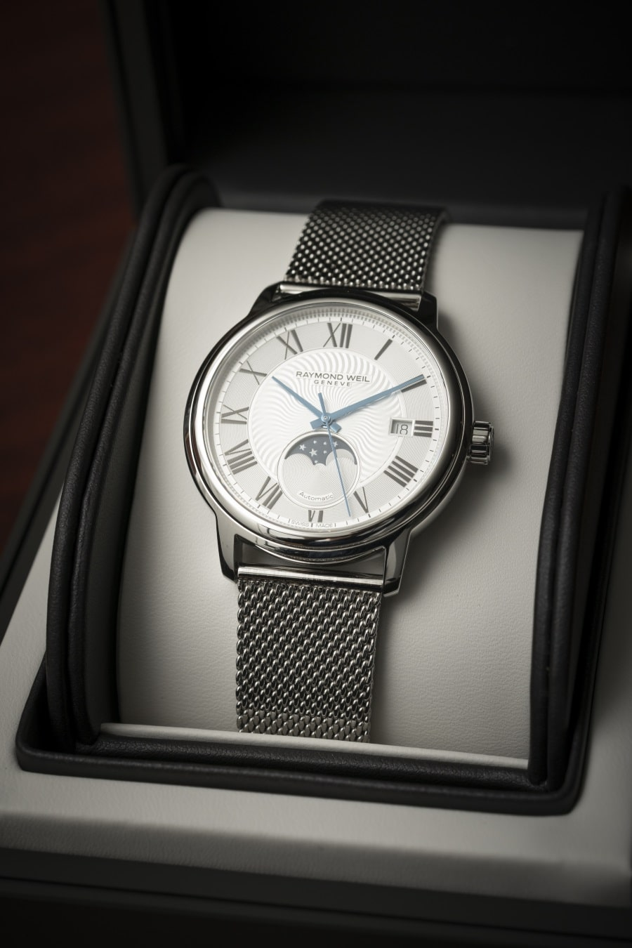 moon phase timepiece watch in the box