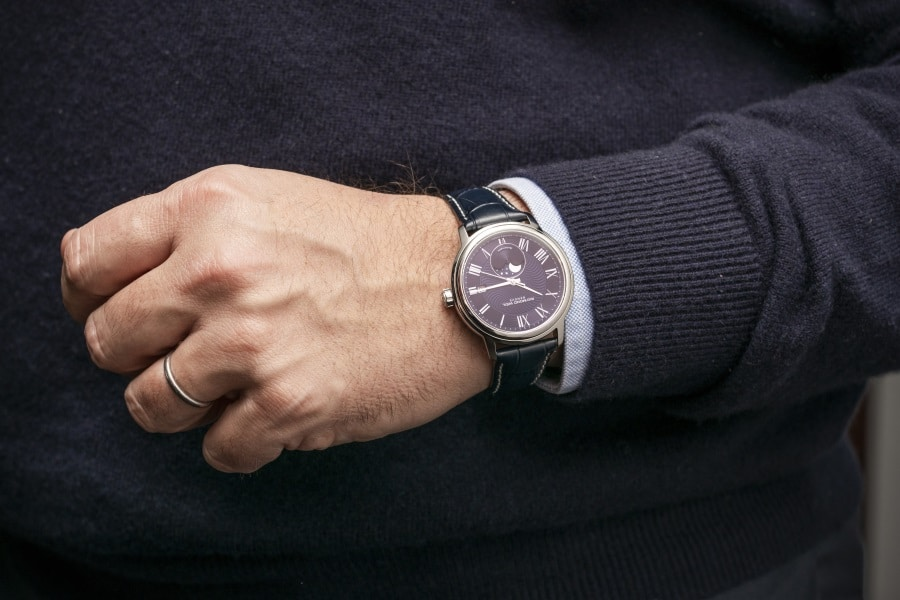 moon phase timepiece watch black strap