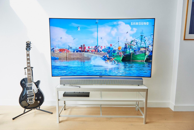 samsungs sound and soundbar arranged tv room