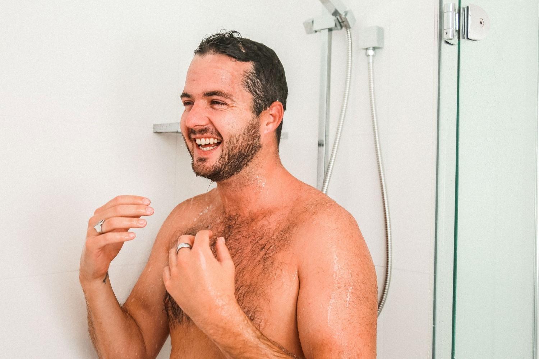 men complete his bath