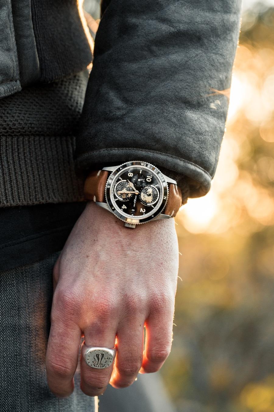 montblanc 1858 watch round shape crown