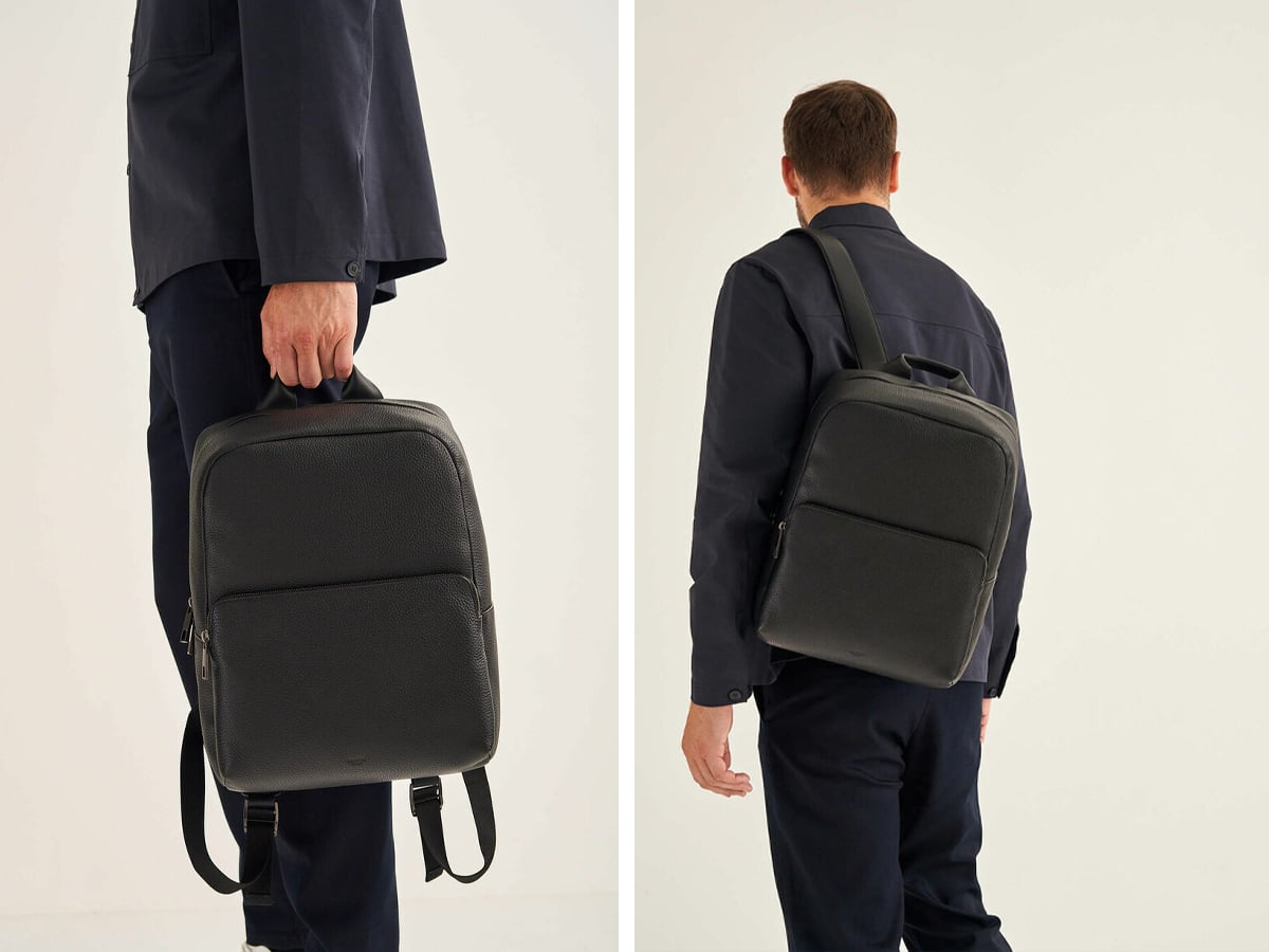 Oroton weston backpack on person