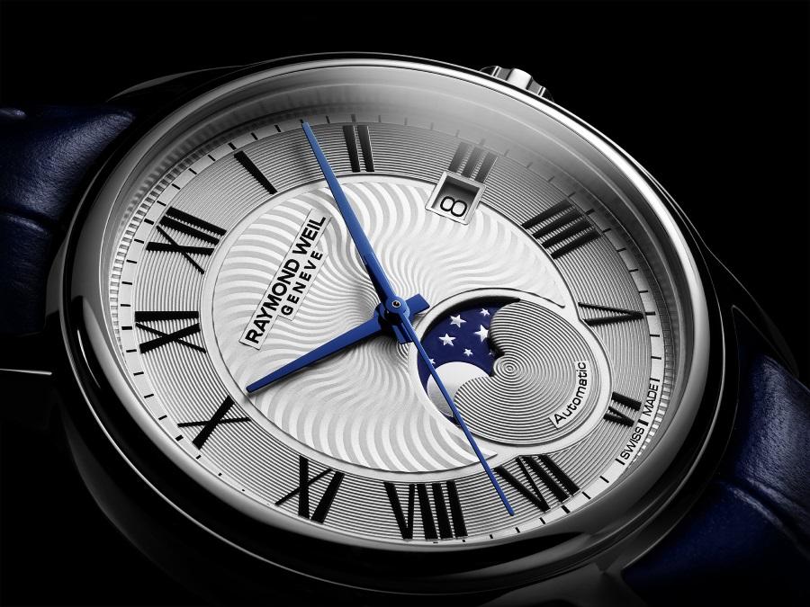 moon phase timepiece watch blue hand