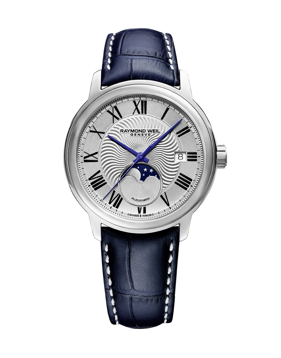 moon phase timepiece watch crown