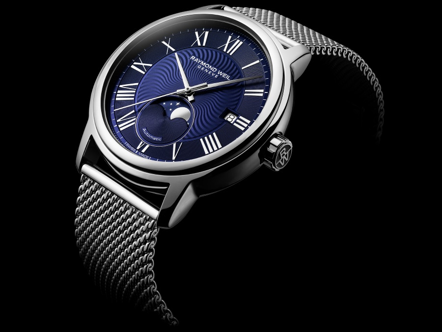 moon phase timepiece blue