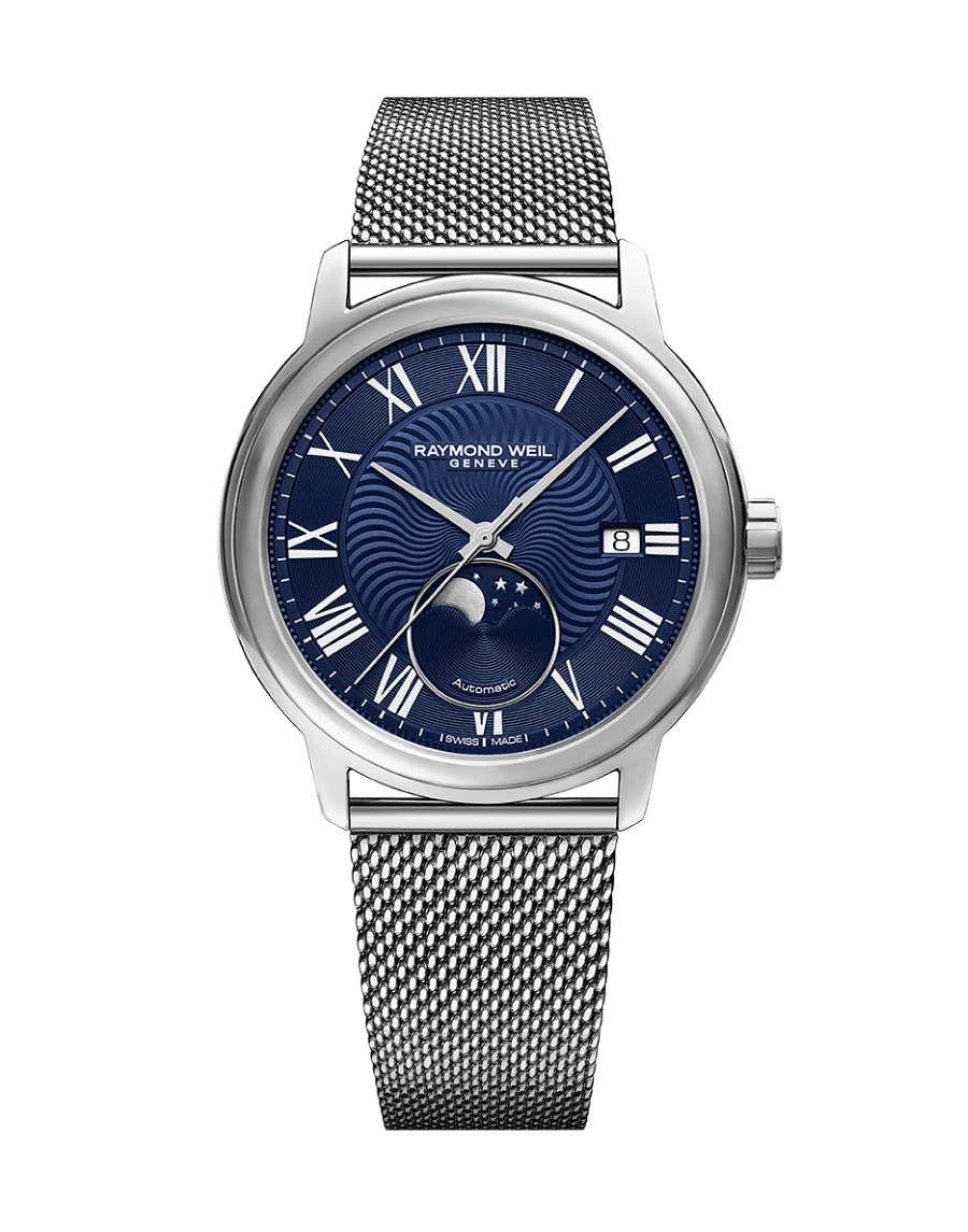 moon phase timepiece watch blue stainless steel