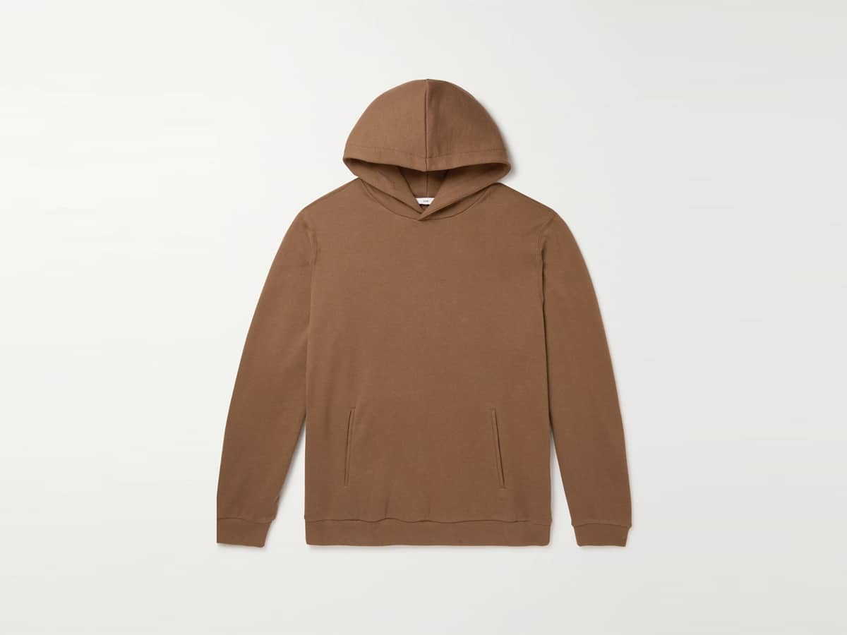 Recycled cotton and cashmere blend jersey hoodie