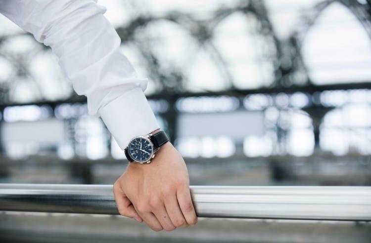 wearing glashütte original watch hand on the steel