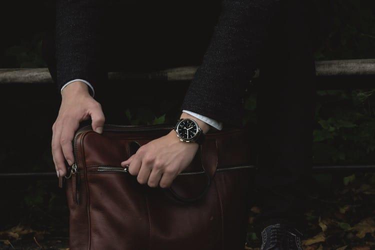 glashütte original watch bag in the hand