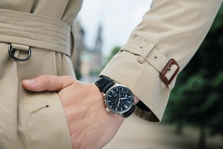 wearing glashütte original watch in the hand