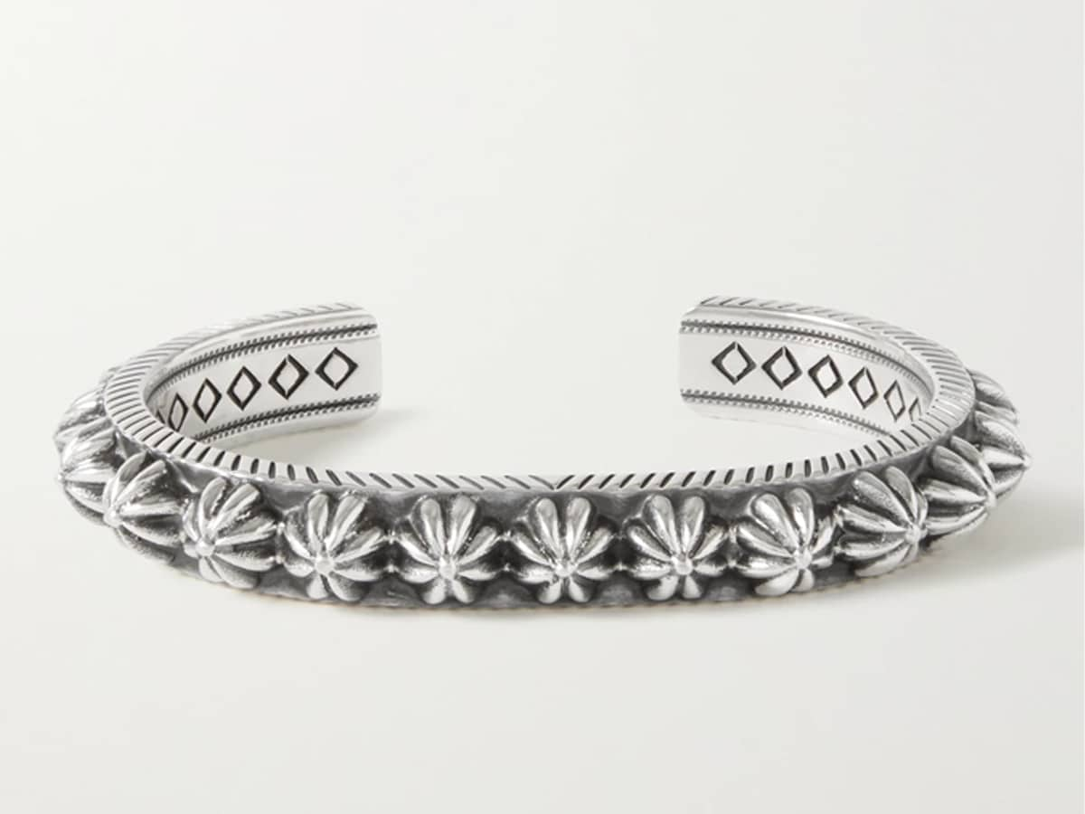 Thick blossom sterling silver cuff