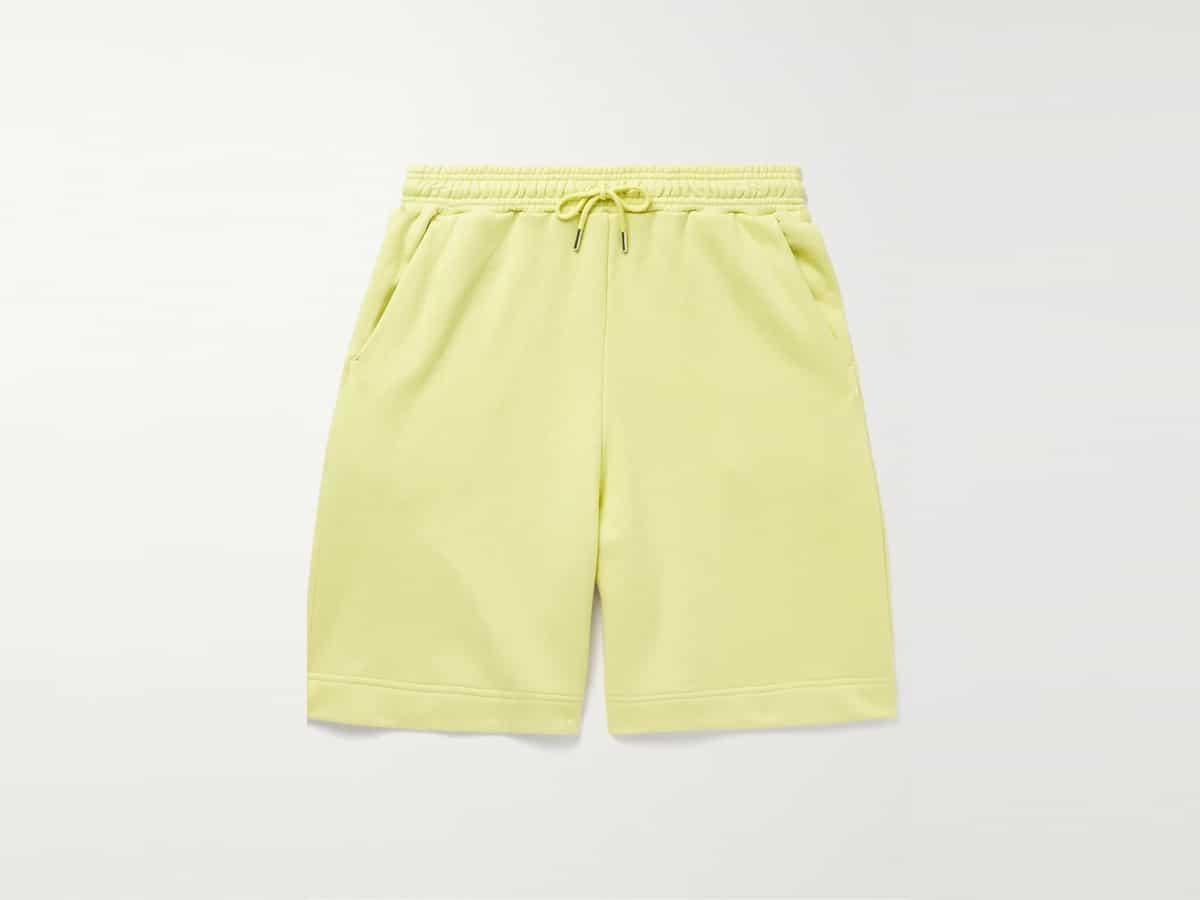 Wide leg organic cotton jersey drawstring shorts