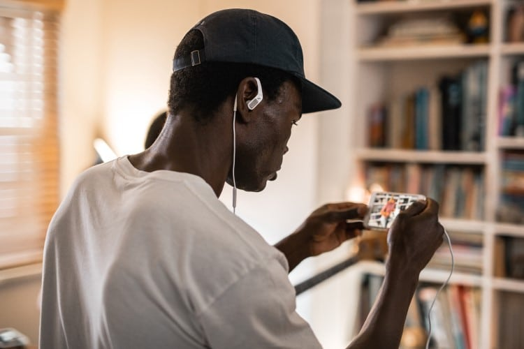 sennheiser ambeo smart headset attached in ear