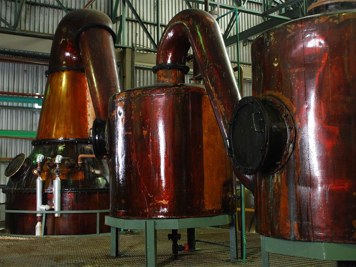 Diplomatico rum distillery pot stills