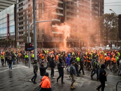 Confronting Images Show the Moment Melbourne Protestors Clashed with Police
