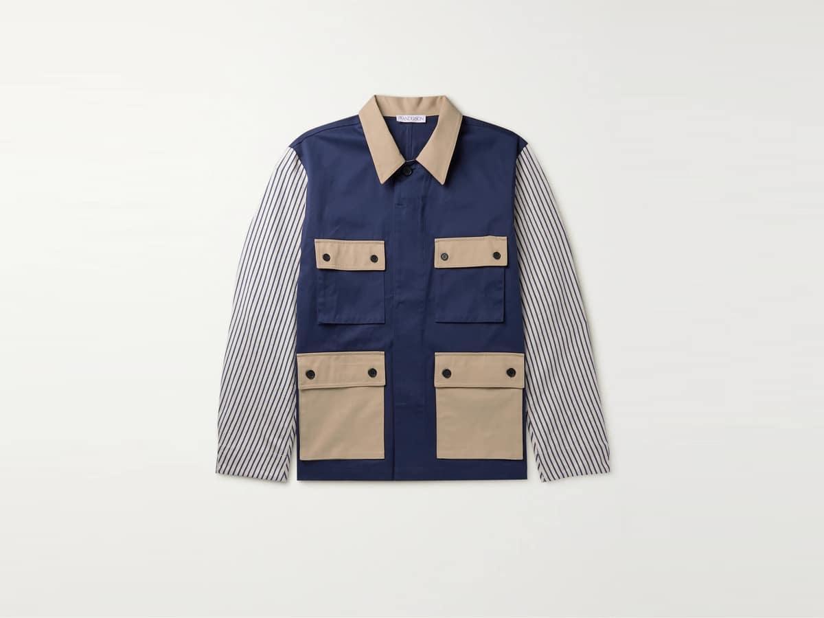 Jw anderson patchwork striped cotton shirt jacket
