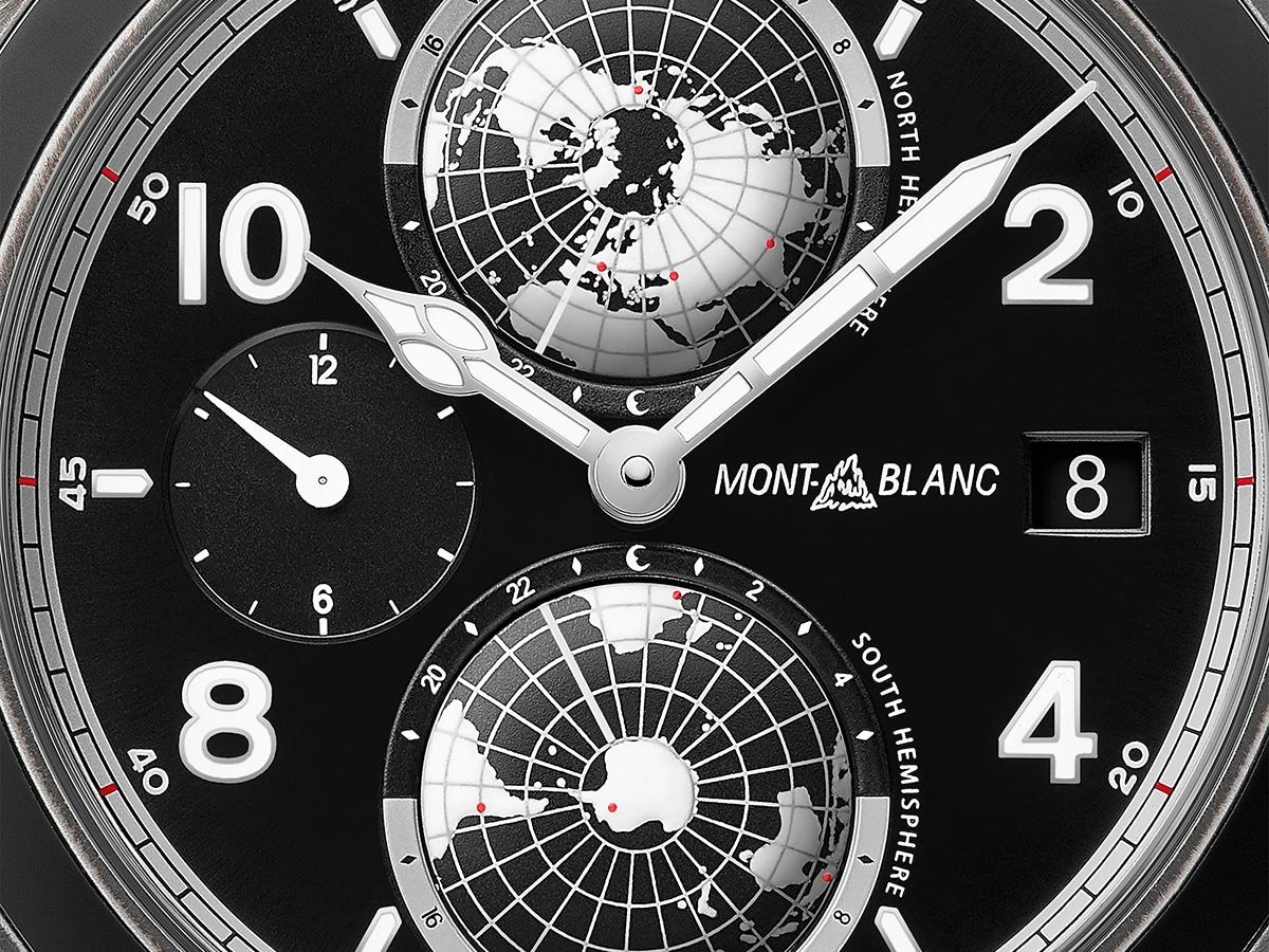 Monblanc 1858 geosphere ultrablack limited edition closer