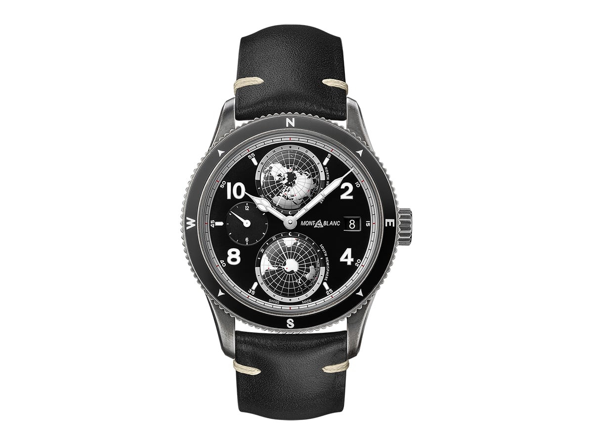 Monblanc 1858 geosphere ultrablack limited edition front clear