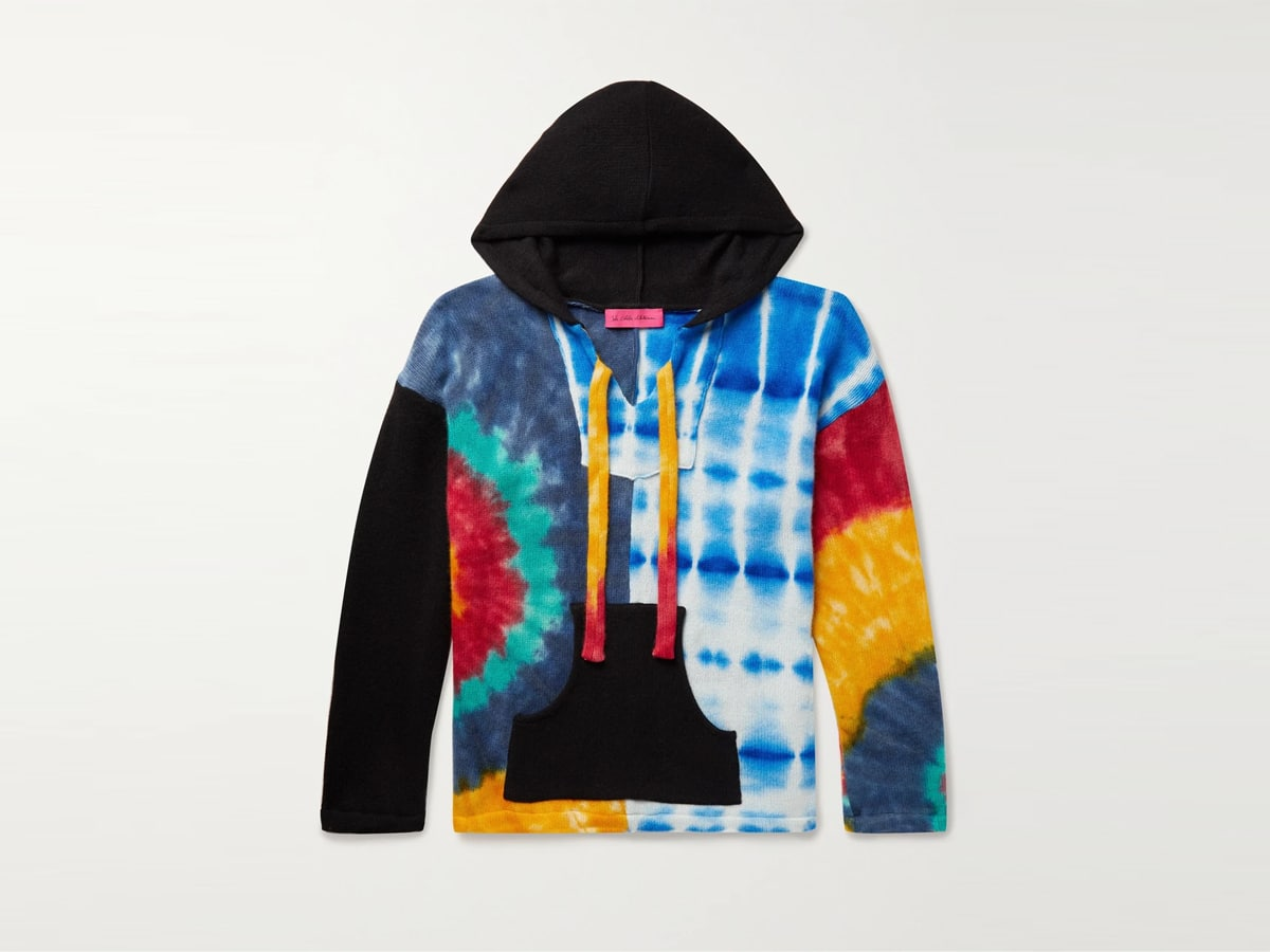 The elder statesman patchwork tie dyed cashmere hooded sweater