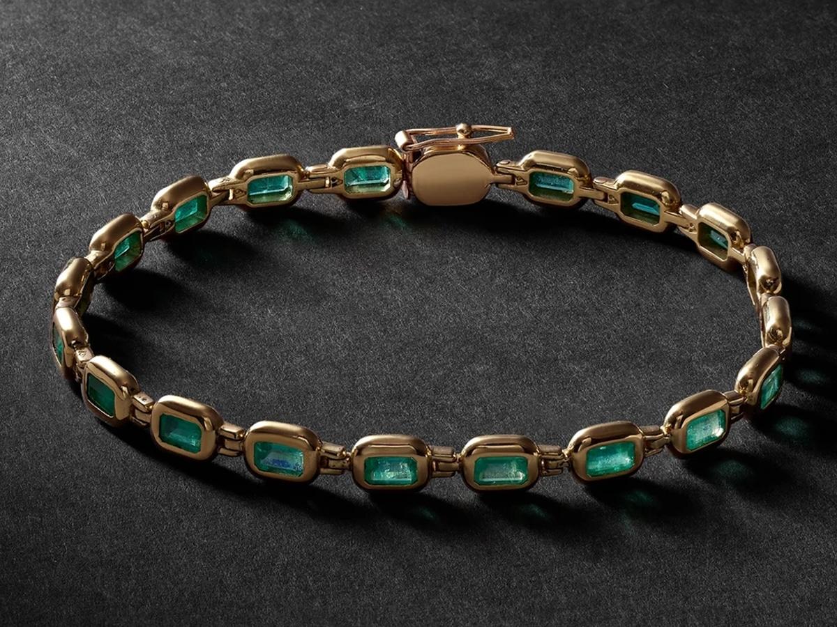 Vada bubble 18 karat gold emerald bracelet
