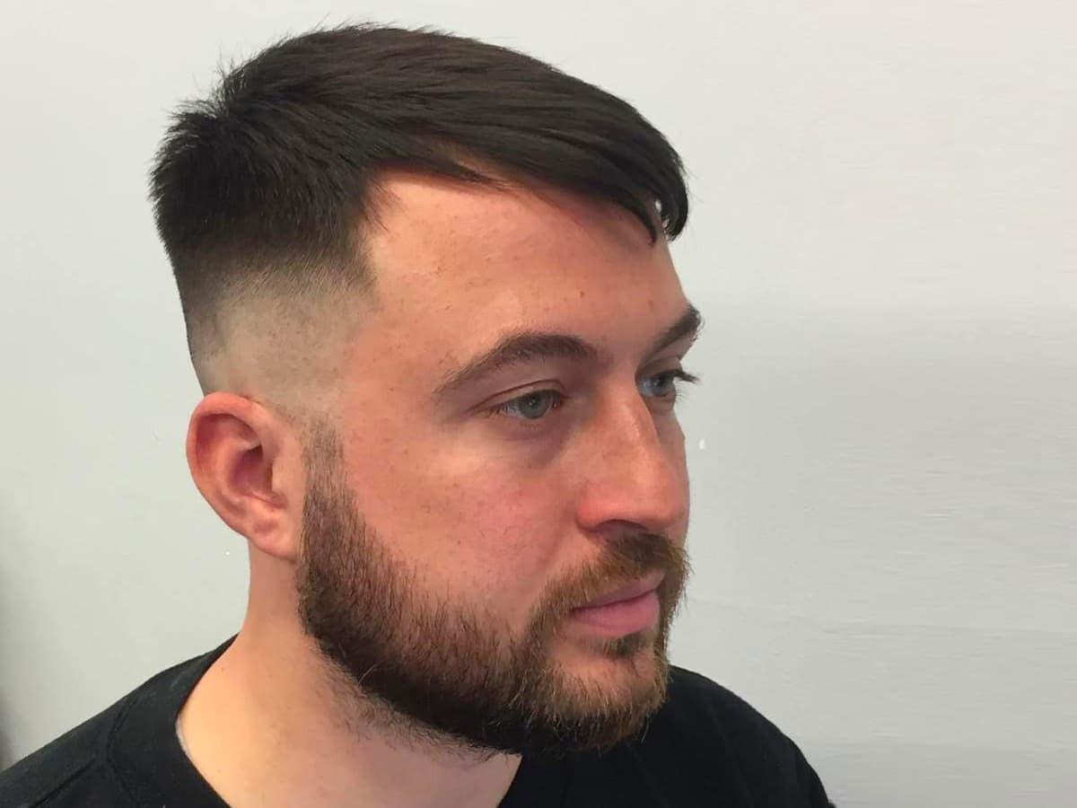 Brushed forward hairstyle