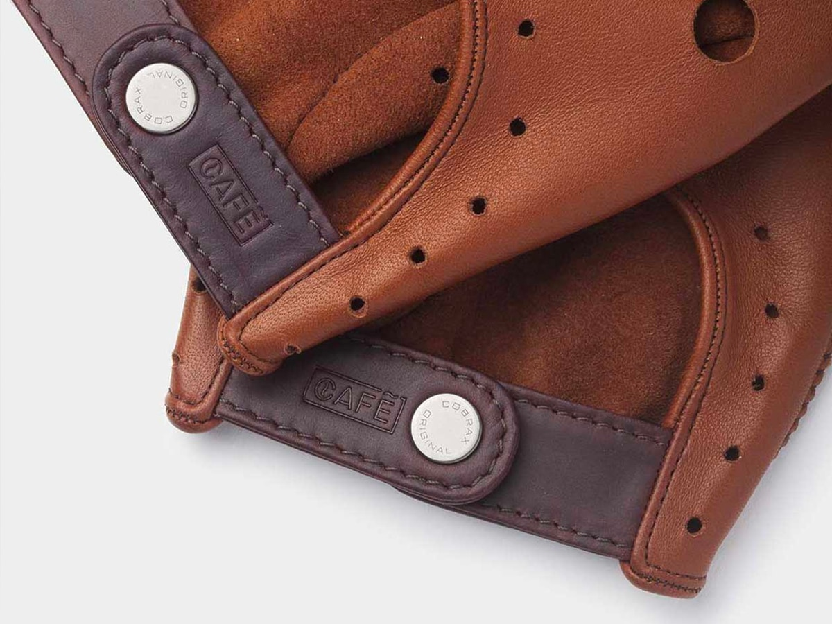 3 cafe leather triton driving gloves roasted