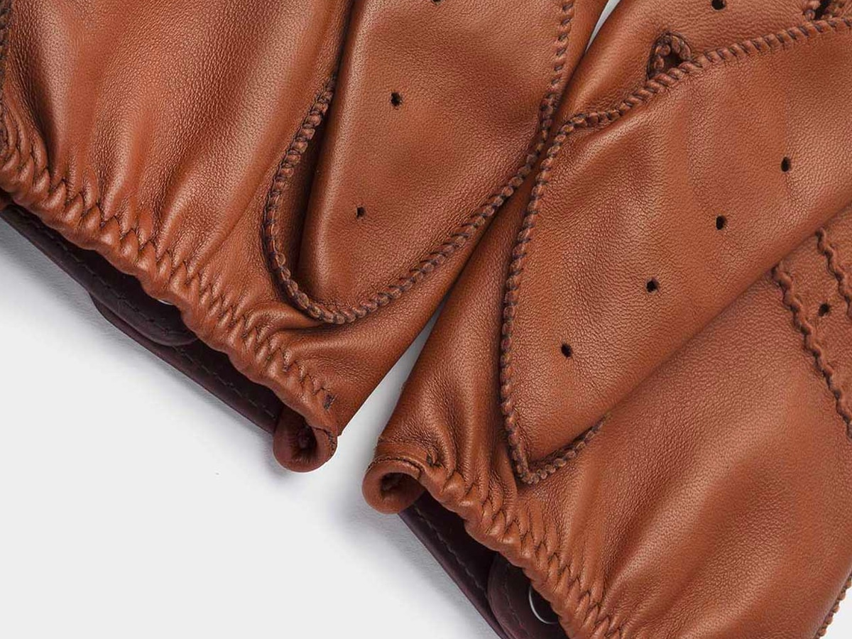 6 cafe leather triton driving gloves roasted